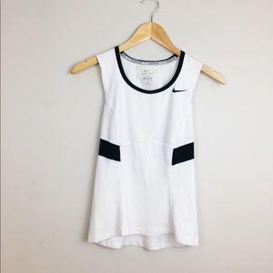 Nike Tennis Dri-Fit White & Black Workout Tank Top
